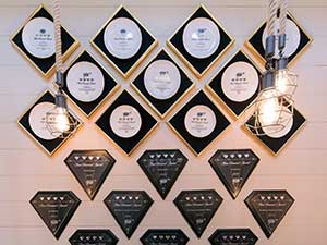 Wall of Awards and Accolades at Refectory Restaurant